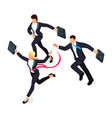 running businessmen isolated on white vector image vector image