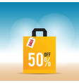 sale on yellow bag design in colorful vector image