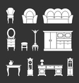 set icons retro furniture and home accessories vector image