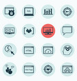 set of 16 seo icons includes loading speed web vector image vector image