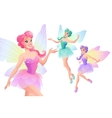 set of beautiful fairies with butterfly vector image vector image