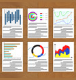 set of charts document vector image vector image