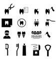 set of dental icons in silhouette style vector image