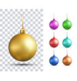 set of realistic multicolored christmas balls vector image