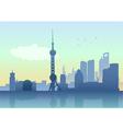 silhouette shanghai skyline vector image