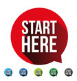 start here button label set vector image vector image