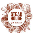 steak house grill restaurant menu banner with hand vector image vector image