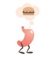 stomach thinking of a hamburger vector image vector image