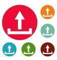 upload icons circle set vector image