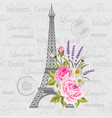 vintage postcard with eiffel tower and flowers vector image vector image