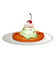 Waffle with icecream on plate vector image vector image