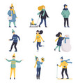 winter time set people dressed in outerwear vector image vector image