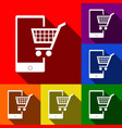 shopping on smart phone sign set of icons vector image