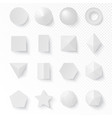 3d volumetric soft white shapes figures set vector image
