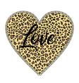 animal print heart and word love