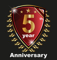 anniversary 5 th label with ribbon vector image vector image