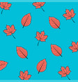 autumn leaves in coral color seamless pattern vector image