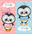 baby shower greeting card with penguins vector image vector image