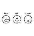 back exit cancel icon vector image
