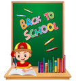 back to school template with boy vector image vector image