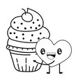 bakery cupcake cartoon vector image