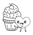 bakery cupcake cartoon vector image vector image