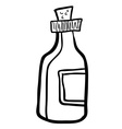 black and white bottle cartoon vector image vector image