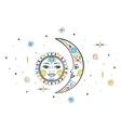 Bohemian sun moon vector image