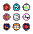 bottle caps set sport vector image vector image