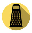 cheese grater sign flat black icon with vector image