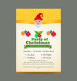 christmas party invitation card with golden vector image