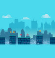 city game background with different platforms and vector image