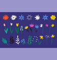 collection flowers in a flat style wild flower vector image vector image