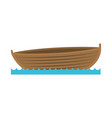 color silhouette wooden fishing boat in lake vector image vector image