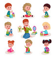 cute little boys and girls learning letters with vector image vector image