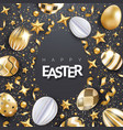 easter black background with realistic decorated vector image vector image