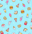 Fast food seamless pattern on blue background vector image