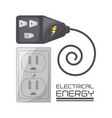 flat connecter and plug energy concept vector image vector image