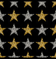 gold and silver stars on black background vector image