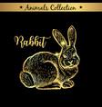 golden and royal hand drawn emblem of farm rabbit vector image vector image