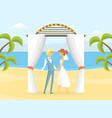 happy just married couple at wedding ceremony vector image vector image