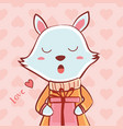 happy valentines day with cute fox and giftbox vector image