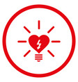 heart electric bulb rounded icon vector image