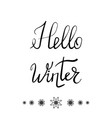 hello winter typographic poster ink lettering on vector image vector image