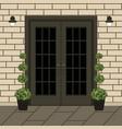 house door front with doorstep and window lamp vector image vector image