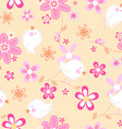 Little birds with flowers seamless pattern vector image vector image