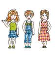 little girls cute children group standing wearing vector image