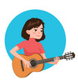 musician playing guitar girl guitarist is vector image vector image