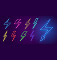 neon lightning icons colored arrows and flashes vector image