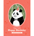 Panda Animal Cartoon Birthday card design vector image